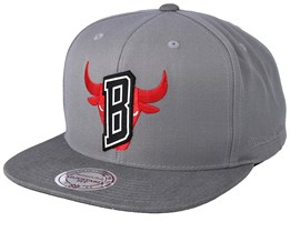 Chicago Bulls Overlap Grey Snapback - Mitchell & Ness