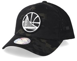 Golden State Warriors Multicam Camo/Black 110 Trucker - Mitchell & Ness