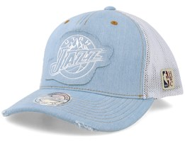 Utah Jazz Denim Jersey Light Blue/White Trucker - Mitchell & Ness