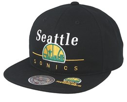 newest 93308 0d5c5 Seattle Supersonics Double Black Snapback - Mitchell   Ness