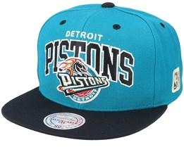 Detroit Pistons Team Arch 2 Tone S Black/Teal Snapback - Mitchell & Ness