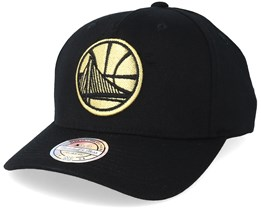 Golden State Warriors Tonal Pinch Panel Black/Gold 110 Adjustable Mitchell Ness