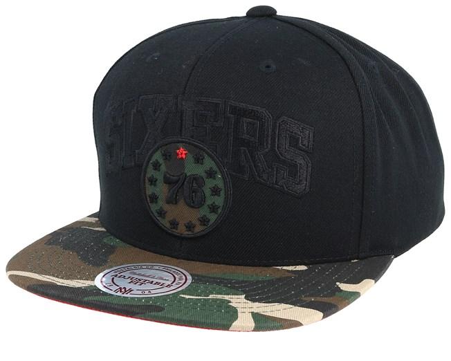 huge discount f32fd bcac9 Philadelphia 76ers Woodland Blind Black Camo Snapback - Mitchell   Ness caps  - Hatstoreworld.com
