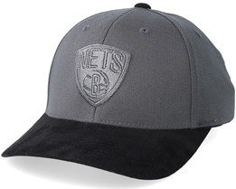 Brooklyn Nets Suede Charcoal/Black 110 Adjustable - Mitchell & Ness