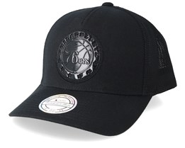 Philadelphia 76ers Zig Zag 110 Black Trucker - Mitchell & Ness