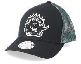 Toronto Raptors Squad Black/Camo 110 Trucker - Mitchell & Ness