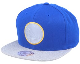 Golden State Warriors Heather Reflective Royal/Heather Grey Snapback - Mitchell & Ness