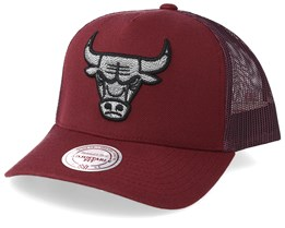 Chicago Bulls Melange Logo Burgundy Trucker - Mitchell & Ness