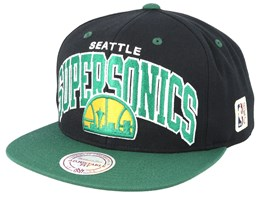 Seattle Supersonics Two Tone Black/Green Snapback - Mitchell & Ness