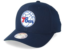 Philadelphia 76ers Cotton High Crown Pinch Panel Navy 110 Adjustable - Mitchell & Ness