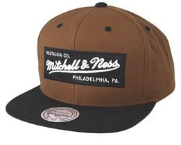 Own Brand Box Logo Tan/Black Snapback - Mitchell & Ness
