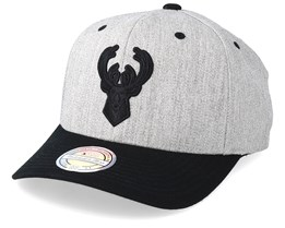 Milwaukee Bucks 110 Heather Grey/Black Adjustable - Mitchell & Ness