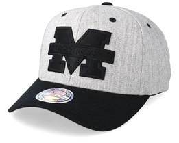 Michigan Wolverines 110 Heather Grey/Black Adjustable - Mitchell & Ness