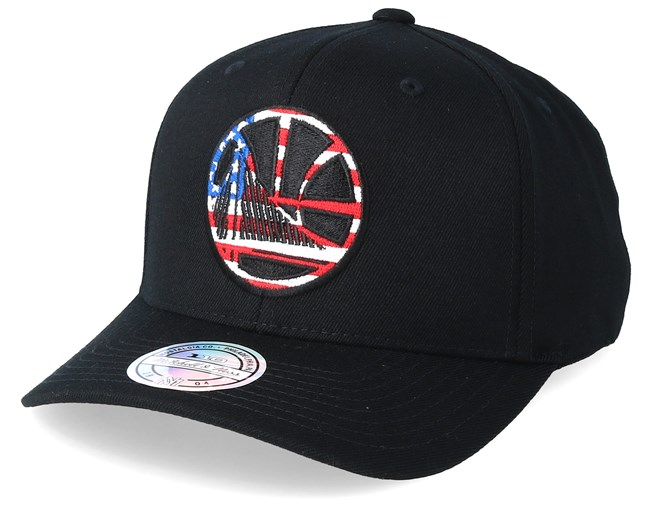 baf30182 Golden State Warriors USA Logo 110 Black Adjustable - Mitchell & Ness caps  - Hatstoreworld.com