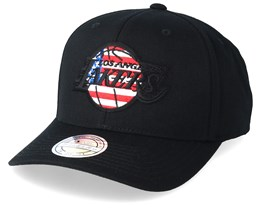 LA Lakers USA Logo 110 Black Adjustable - Mitchell & Ness