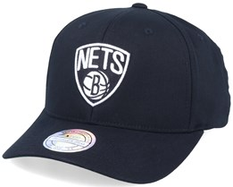 Brooklyn Nets Logo High Crown Black 110 Adjustable - Mitchell & Ness