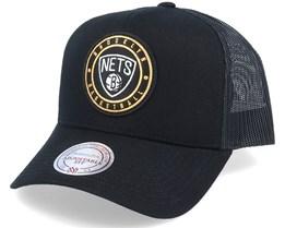 Brooklyn Nets Hickory Black Trucker - Mitchell & Ness