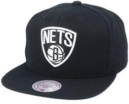 Brooklyn Nets Wool Solid Black Snapback - Mitchell & Ness