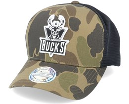 Milwaukee Bucks Duck Camo/Black 110 Trucker - Mitchell & Ness