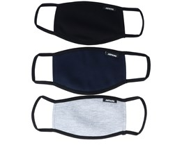 3-Pack Dark Colours Face Mask Set Navy/Grey/Black - Hype