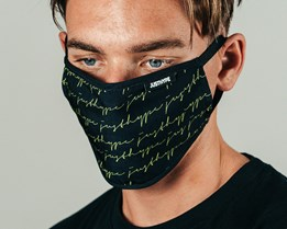 Allover Signature Black/Green Face Mask - Hype