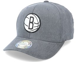 Brooklyn Nets Washout Snapback Heather Grey 110 Adjustable - Mitchell & Ness