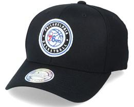 Philadelphia 76ers Varsity Patch Black 110 Adjustable - Mitchell & Ness