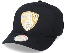 Brooklyn Nets Metallic Weald Black Adjustable - Mitchell & Ness