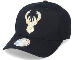 Milwaukee Bucks Metallic Weald Black Adjustable - Mitchell & Ness