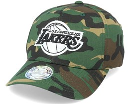 LA Lakers Black/White Logo Camo 110 Adjustable - Mitchell & Ness