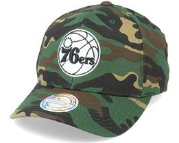 Philadelphia 76ers Black/White Logo Camo 110 Adjustable - Mitchell & Ness