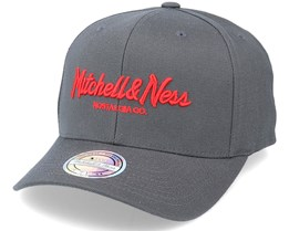 Hatstore Exclusive Pinscript Charcoal/Red 110 Adjustable - Mitchell & Ness