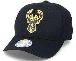 Milwaukee Bucks Hatstore Exclusive Leather Logo Black/Gold 110 Adjustable - Mitchell & Ness
