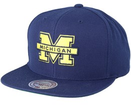 Michigan Wolverines Wool Solid Navy Snapback - Mitchell & Ness