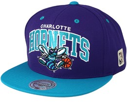 Charlotte Hornets Team Arch Purple/Teal Snapback - Mitchell & Ness