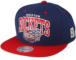 0b1114e143a2d Houston Rockets Team Arch Navy Red Snapback - Mitchell   Ness