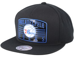 Philadelphia 76ers Weald Patch Black Snapback - Mitchell & Ness