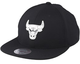Chicago Bulls Check Black Strapback - Mitchell & Ness