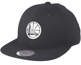 hot sale online a339f 161df Golden State Warriors Check Black Strapback - Mitchell   Ness