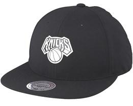 New York Knicks Check Black Strapback - Mitchell & Ness