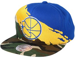Golden State Warriors Paintbrush Camo Snapback - Mitchell & Ness