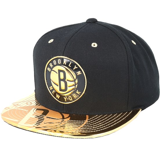 official photos 56447 24ce3 Brooklyn Nets Gold Standard Black Snapback - Mitchell   Ness caps -  Hatstorecanada.com