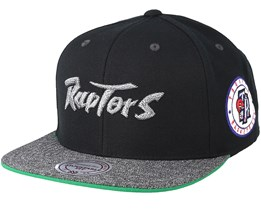 Toronto Raptors Melange Patch Black/Grey Snapback - Mitchell & Ness