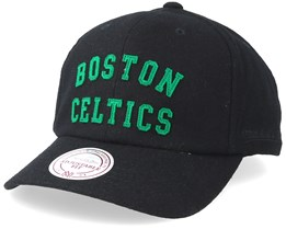 Boston Celtics Felt Arch Strapback Black Adjustable - Mitchell & Ness