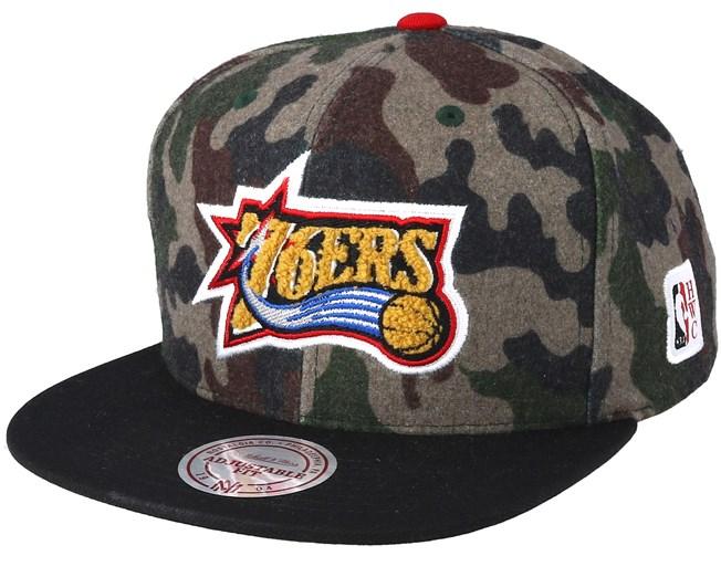 best loved ca143 f097c Philadelphia 76ers Flannel Camo Black Snapback - Mitchell   Ness caps -  Hatstoreaustralia.com