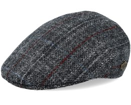 Country Harris Tweed Grey Check Flat Cap - MJM Hats