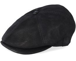 Rebel Nappa Wax Black Flat Cap - MJM Hats