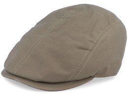 Daffy 3 Wax Cotton Green Flat Cap - MJM Hats