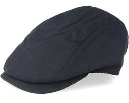 Daffy-3 Wax Cotton W-P Black Flat Cap - MJM Hats