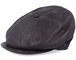 Blue Line Bono Leather Dark Brown Flat Cap - MJM Hats